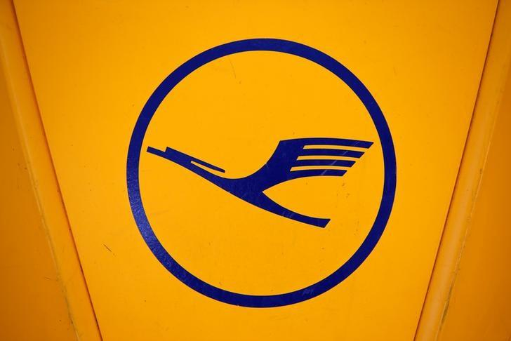 A logo of German airline Lufthansa is seen before the company's annual news conference at the airport in Munich
