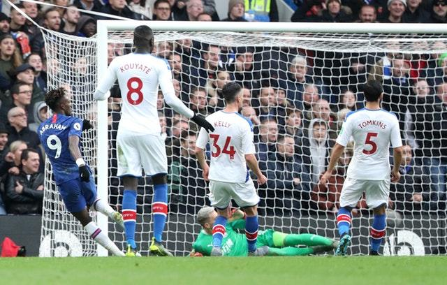 Tammy Abraham, left, gives Chelsea the lead (Yui Mok/PA)