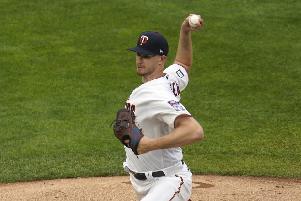 Minnesota Twins pitcher Bailey Ober throws against the Chicago White Sox as he makes his major league debut in the first inning of a baseball game Tuesday, May 18, 2021, in Minneapolis. (AP Photo/Jim Mone)
