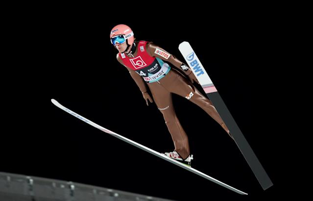 Ski Jumping World Cup - Men's HS134 Qualification - Holmenkollen, Oslo, Norway - March 9, 2018. Dawid Kubacki of Poland is seen during official training. NTB Scanpix/Terje Bendiksby via REUTERS ATTENTION EDITORS - THIS IMAGE WAS PROVIDED BY A THIRD PARTY. NORWAY OUT. NO COMMERCIAL OR EDITORIAL SALES IN NORWAY.