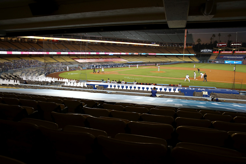 A general view of Dodger Stadium during the third inning.