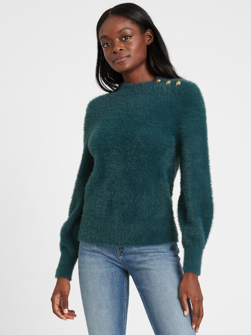 <p>You can simply mix it up by adding texture with this <span>Banana Republic Fuzzy Puff-Sleeve Sweater</span> ($99)!</p>