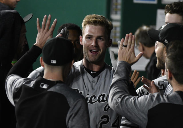 "<a class=""link rapid-noclick-resp"" href=""/mlb/players/9337/"" data-ylk=""slk:Matt Davidson"">Matt Davidson</a> was the center of attention Thursday (AP Photo/Ed Zurga)"