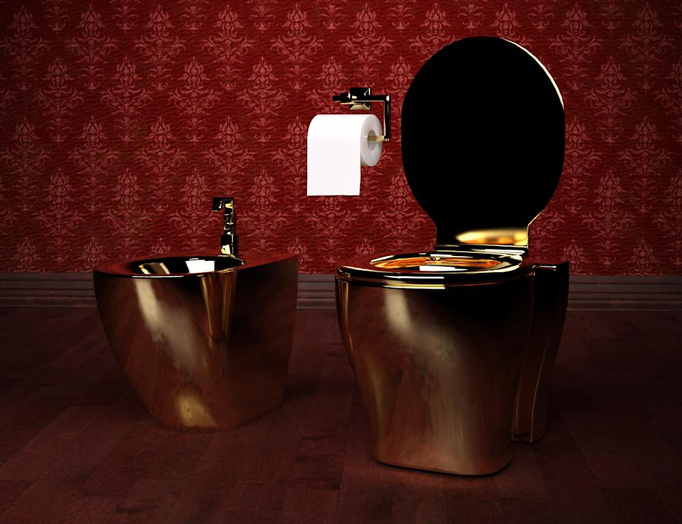 Luxurious gold plated toilet and bidet