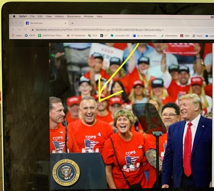 This image posted to Facebook misidentifies a man at an October rally with President Donald Trump as Derek Chauvin, the officer who choked George Floyd on May 25 in Minneapolis. The man, identified with the arrow, has been ID'd as Mike Gallagher.