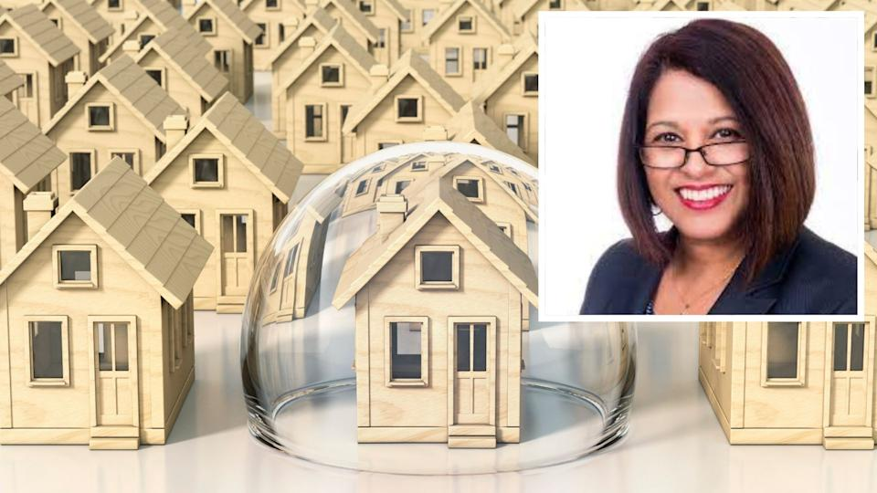 Image of rows of houses, one with bubble around it - safe haven concept. Safe Haven managing director Jaeneen Cunningham.
