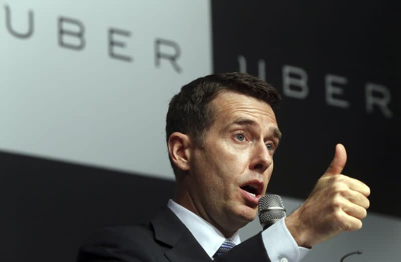 David Plouffe, Uber's senior vice president of policy and strategy, speaks during a news conference in Seoul