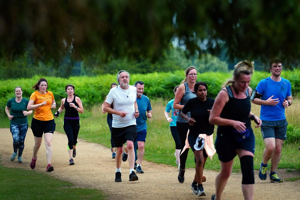 Runners taking part in the Parkrun at Bushy Park in London, the largest and oldest Parkrun in the UK, and one of many runs taking place across the country for the first time since last March. Picture date: Saturday July 24, 2021. (PA Wire)