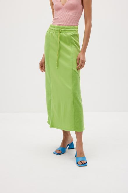 """<br><br><strong>The Source Unknown</strong> Towel Midi Skirt, $, available at <a href=""""https://go.skimresources.com/?id=30283X879131&url=https%3A%2F%2Fthesourceunknown.com%2Fcollections%2Fnew-in%2Fproducts%2Ftowel-midi-skirt-chartreuse"""" rel=""""nofollow noopener"""" target=""""_blank"""" data-ylk=""""slk:The Source Unknown"""" class=""""link rapid-noclick-resp"""">The Source Unknown</a>"""