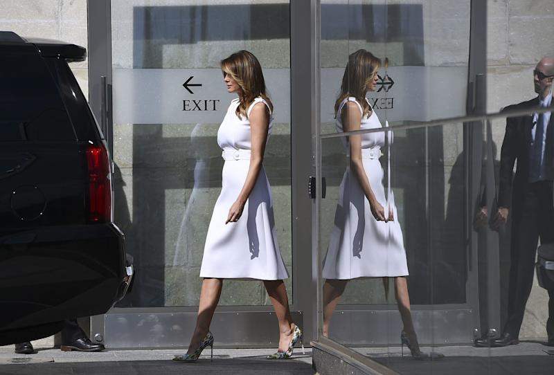 First lady Melania Trump at the Washington Monument after its reopening ceremony on the National Mall on Sept. 19, 2019.