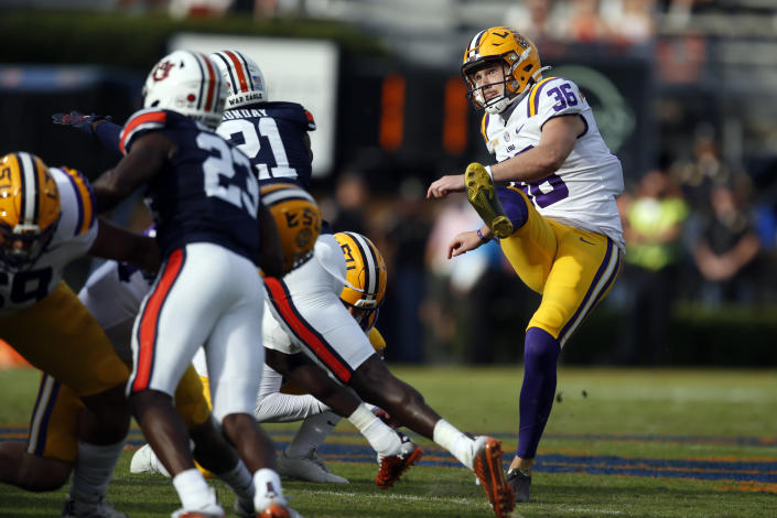 LSU placekicker Cade York (36) boots a field goal during the second quarter of an NCAA college football game against Auburn, Saturday, Oct. 31, 2020, in Auburn, Ala. (AP Photo/Butch Dill)