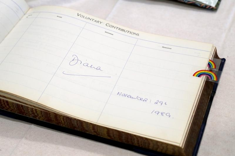 The signature of Princess Diana in the visitors book at Sheffield Children's Hospital in Clarkson Street, Sheffield, from when she visited the hospital 30 years ago. The Duke of Sussex visited the hospital today where he officially opened the new wing.