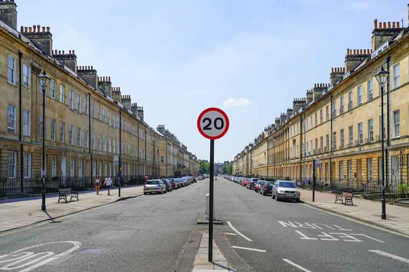 A 20-mile an hour sign on Pulteney Street in Bath, UK. Photo date: Friday, July 6, 2018. Photo credit should read: Richard Gray/EMPICS