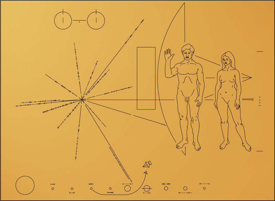 Gold plaque, The Pioneer probes carried a gold plaque bearing a message designed by the American astronomer Carl Sagan. Information on the probe's origin and launch date and on human civilization was engraved on it, intended to be seen by beings who may intercept the probe outside the solar system thousands of years from now. (Photo by: QAI Publishing/Universal Images Group via Getty Images)