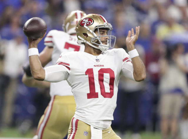 San Francisco 49ers quarterback Jimmy Garoppolo (10) throws against the Indianapolis Colts during the first half of an NFL preseason football game in Indianapolis, Saturday, Aug. 25, 2018. (AP Photo/Michael Conroy)