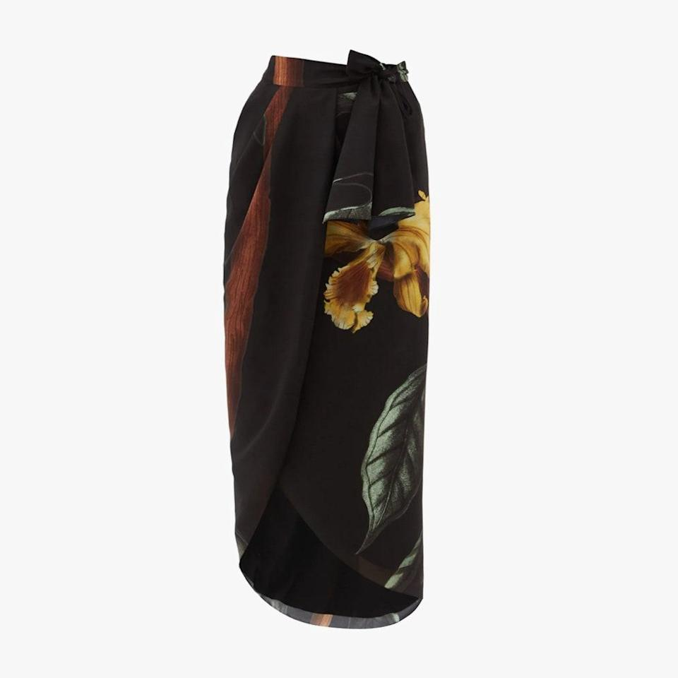 """$819, MATCHESFASHION.COM. <a href=""""https://www.matchesfashion.com/products/Johanna-Ortiz-Tropical-Chemistry-recycled-fibre-wrap-skirt-1397672"""" rel=""""nofollow noopener"""" target=""""_blank"""" data-ylk=""""slk:Get it now!"""" class=""""link rapid-noclick-resp"""">Get it now!</a>"""
