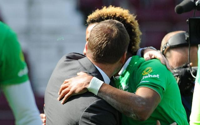 <span>Scott Sinclair is embraced by Brendan Rodgers</span> <span>Credit: REX FEATURES </span>