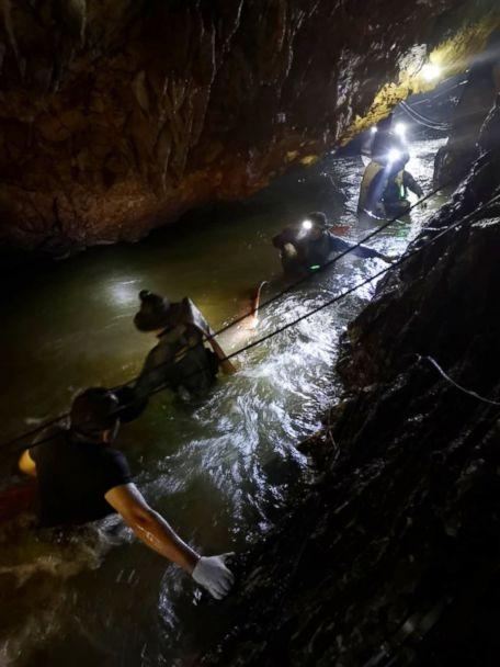 PHOTO: Divers work on a plan to rescue 12 boys and their soccer coach who remain trapped inside the Tham Luang Nang Non cave, Chiang Rai province, Thailand. (Asaf Zmirly)