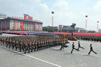 A parade of the Worker-Peasant Red Guards takes place at Kim Il-Sung Square in Pyongyang, on September 9, 2013