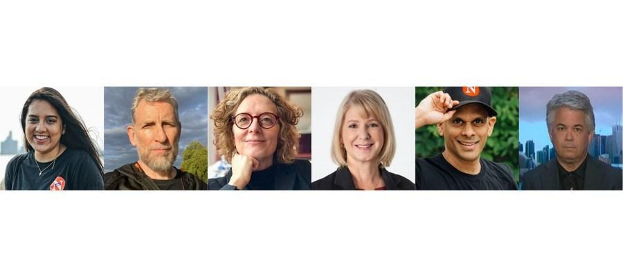 The Canadian Journalism Foundation's upcoming J-Talks Live webcast on Oct. 26 features (left to right): Fatima Syed, The Narwhal; Jonathan Watts, The Guardian; Linda Solomon Wood, Canada's National Observer; Laura Lynch, CBC; Mike De Souza, The Narwhal; and Blaire Feltmate, University of Waterloo. (CNW Group/Canadian Journalism Foundation)