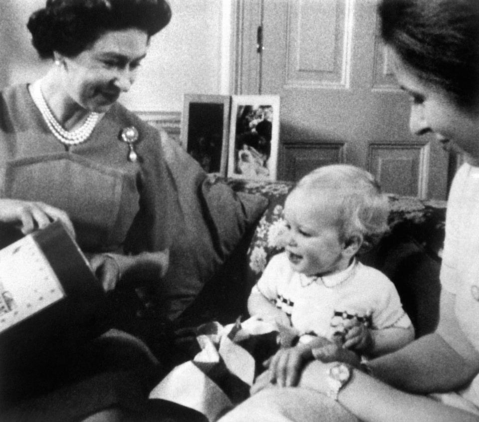 The Queen, together with her grandson Peter Phillips, and his mother, Princess Anne, during the 1978 Christmas Day broadcast. (PA Images)