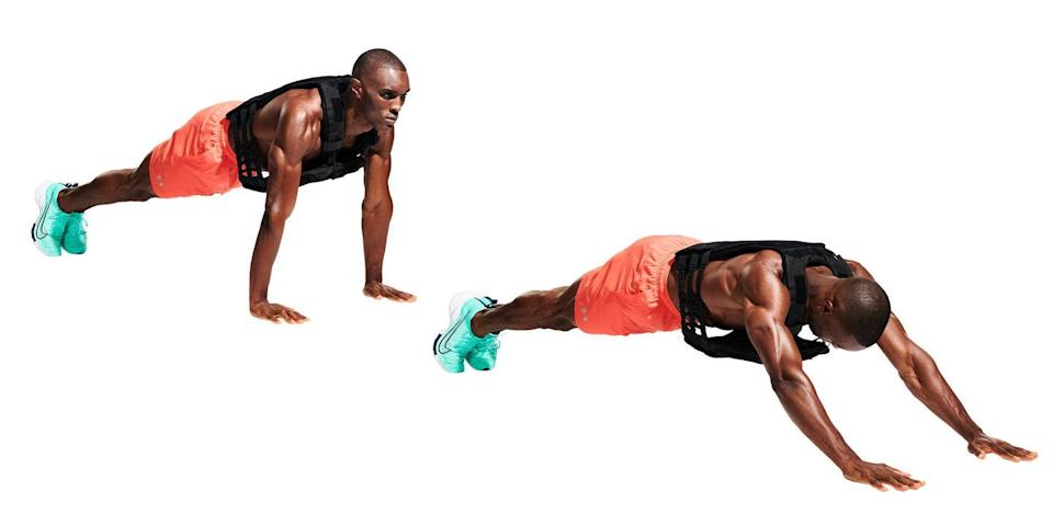 """<p>Now for some <a href=""""https://www.menshealth.com/uk/building-muscle/a748364/10-minute-six-pack-workout/"""" rel=""""nofollow noopener"""" target=""""_blank"""" data-ylk=""""slk:core"""" class=""""link rapid-noclick-resp"""">core</a> work. Drop down into a press-up position, body in a straight line (<strong>A</strong>), and walk your hands forward until your stomach is a few inches above the ground (<strong>B</strong>), then reverse the motion. </p>"""