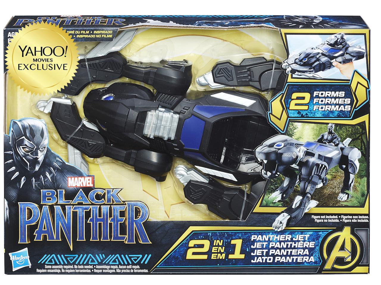"<p>""Imagine Black Panther preparing for an attack with this 2-IN-1 Panther Jet Vehicle, inspired by the movie. Featuring a simple conversion mechanism, kids can switch from a panther-like ground attack vehicle to a royal jet, offering two forms of play. Includes a cockpit that is compatible with 6-inch scale figures (not included)."" $29.99 (Photo: Hasbro) </p>"