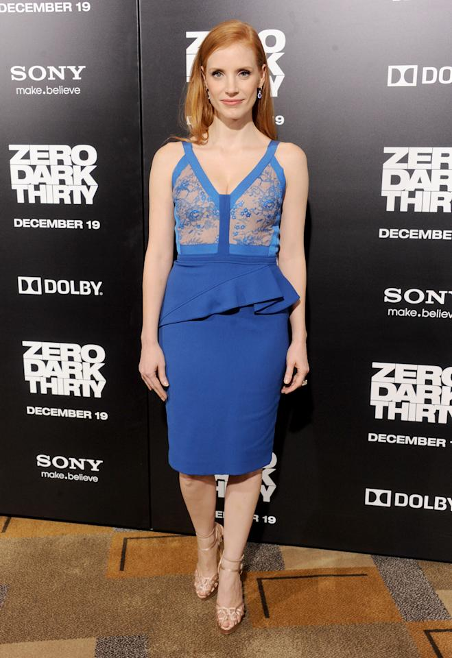 """HOLLYWOOD, CA - DECEMBER 10:  Actress Jessica Chastain arrives at the Los Angeles premiere of """"Zero Dark Thirty"""" at the Dolby Theatre on December 10, 2012 in Hollywood, California.  (Photo by Gregg DeGuire/WireImage)"""