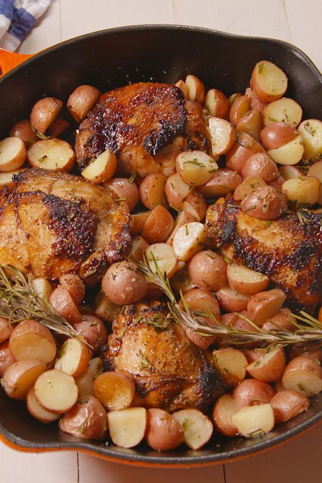 """<p>This sweet, tangy chicken is the perfect weeknight dinner.</p><p>Get the recipe from <a rel=""""nofollow"""" href=""""https://www.delish.com/cooking/recipe-ideas/recipes/a49138/balsamic-glazed-chicken/"""">Delish</a>.</p>"""