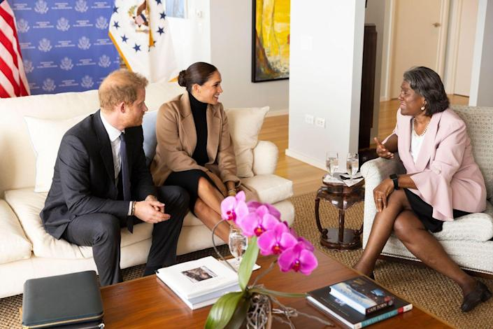 """<p>Thomas-Greenfield took to twitter to share photos of the afternoon. """"Wonderful meeting with Prince Harry and Meghan, The Duke and Duchess of Sussex,"""" she <a href=""""https://twitter.com/USAmbUN/status/1441106513334919172"""" rel=""""nofollow noopener"""" target=""""_blank"""" data-ylk=""""slk:wrote"""" class=""""link rapid-noclick-resp"""">wrote</a>.</p>"""