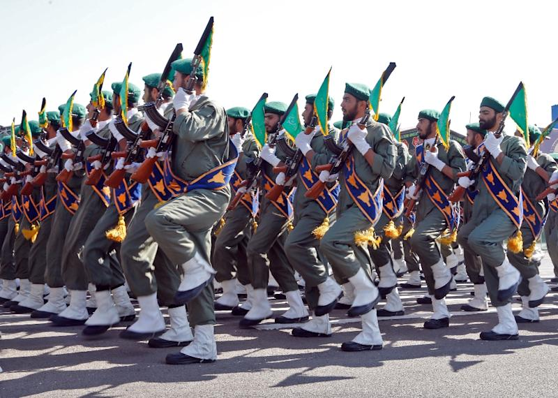 Iranian soldiers march during a military parade on September 22, 2017 in Tehran