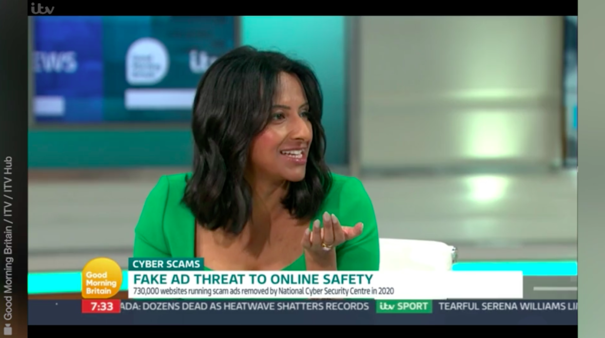 Ranvir Singh explained she had been duped by a pop-up scam. (ITV)