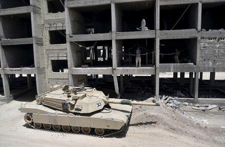 A tank of the Iraqi army is seen on the outskirts of the city of Falluja