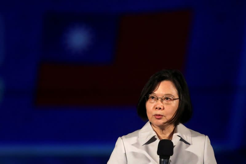 FILE PHOTO: Taiwan President Tsai Ing-wen makes a speech ahead of the light show at the Presidential Office building in Taipei