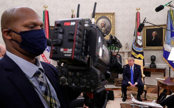 PHOTO: President Donald Trump speaks about the coronavirus disease (COVID-19) response during a meeting with Gov. Kimberly Reynolds of Iowa, in the Oval Office at the White House in Washington, May 6, 2020. (Tom Brenner/Reuters)