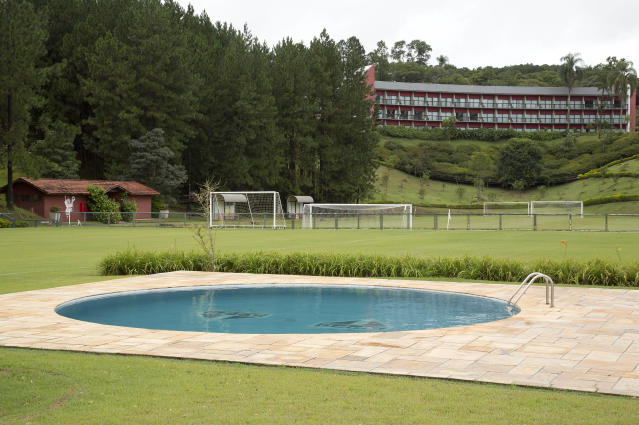 The swimming pool and hotel at the Sao Paulo FC training center where Colombia's 2014 World Cup team will stay during the World Cup in Cotia, Brazil, Monday, Feb. 17, 2014. (AP Photo/Andre Penner)