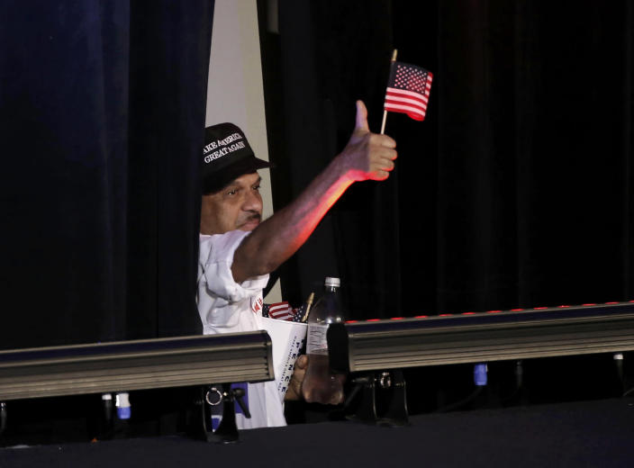 <p>A Trump supporter gives a thumbs-up at Republican U.S. presidential nominee Donald Trump's election night rally in Manhattan, New York, Nov. 8, 2016. (Photo: Mike Segar/Reuters) </p>