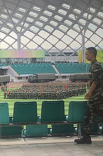 China has made no secret of the gathering of forces in the border city of Shenzhen