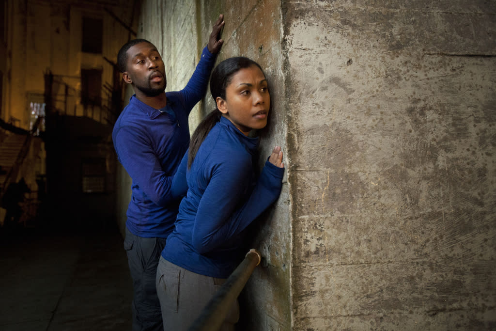 """Contestants Brittanny and Gabe from """"The Great Escape,"""" at the infamous Alcatraz prison in San Francisco."""