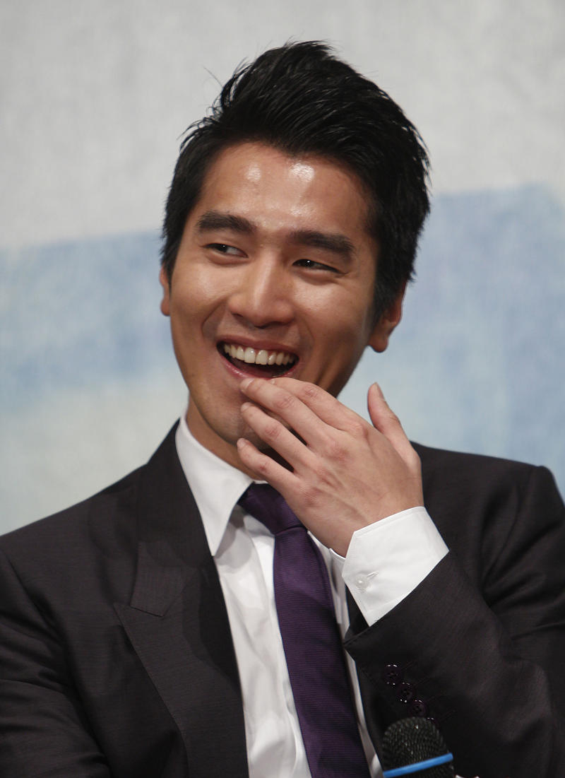"""Taiwanese actor Mark Chao reacts to questions during a media event in the lead up to the premiere of his new film entitled """"Love"""" in Taipei, Taiwan, Tuesday, Feb. 7, 2012. The romantic drama """"Love"""" opens on Valentine's Day, Feb. 14, 2012. (AP Photo/Wally Santana)"""