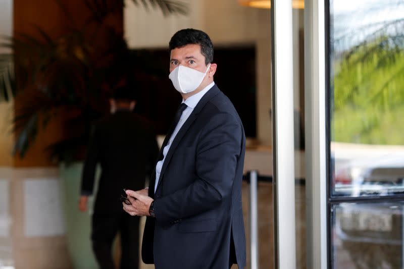 Former Brazil's Justice Minister Sergio Moro arrives at a hotel after a meeting in the Federal Police headquarters, in Brasilia