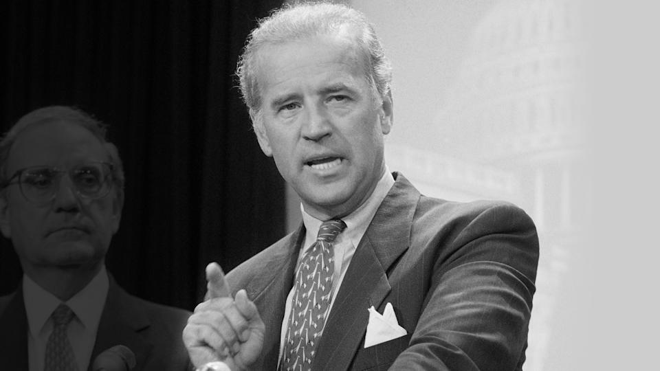Sen. Joseph Biden, D-Del., speaks at a news conference in Washington Thursday, August 25, 1994 after the Senate voted to push the $30 billion crime bill past a Republican procedural roadblock, moving it toward final passage and President Bill Clinton's signature. (John Duricka/AP Photo)