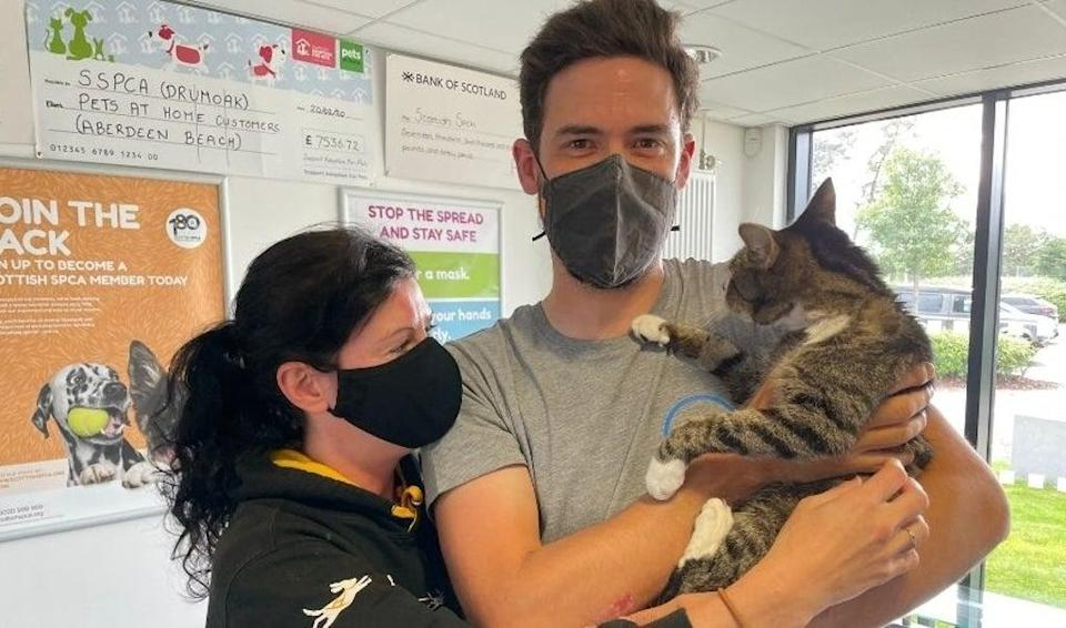 Neil Henderson was finally reunited with his cat Forbes after ten years  (Scottish Society for Prevention of Cruelty to Animals (SSPCA))