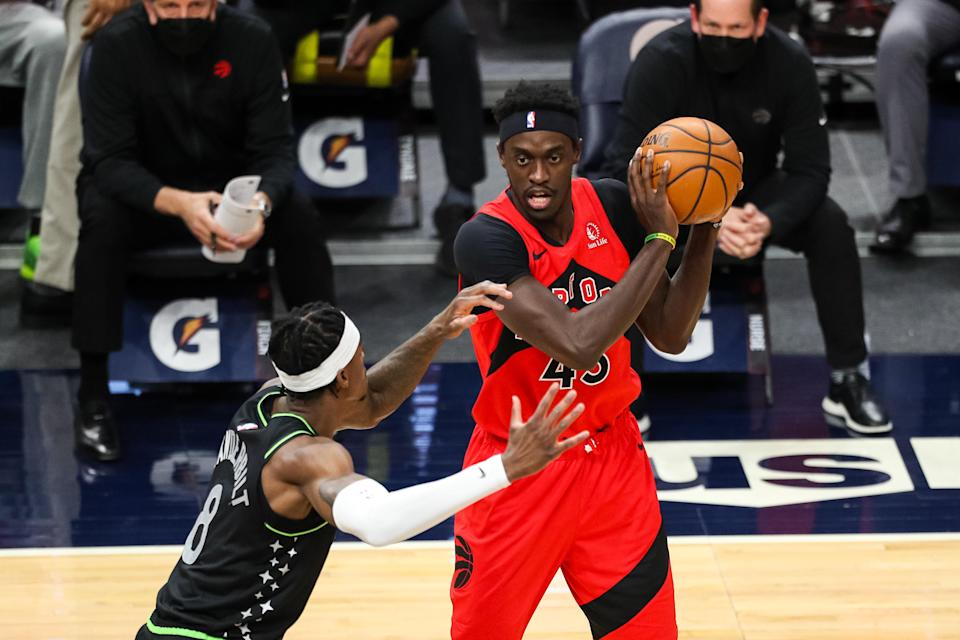 Feb 19, 2021; Minneapolis, Minnesota, USA; Toronto Raptors forward Pascal Siakam (43) in action against Minnesota Timberwolves forward Jarred Vanderbilt (8) in the first quarter at Target Center.