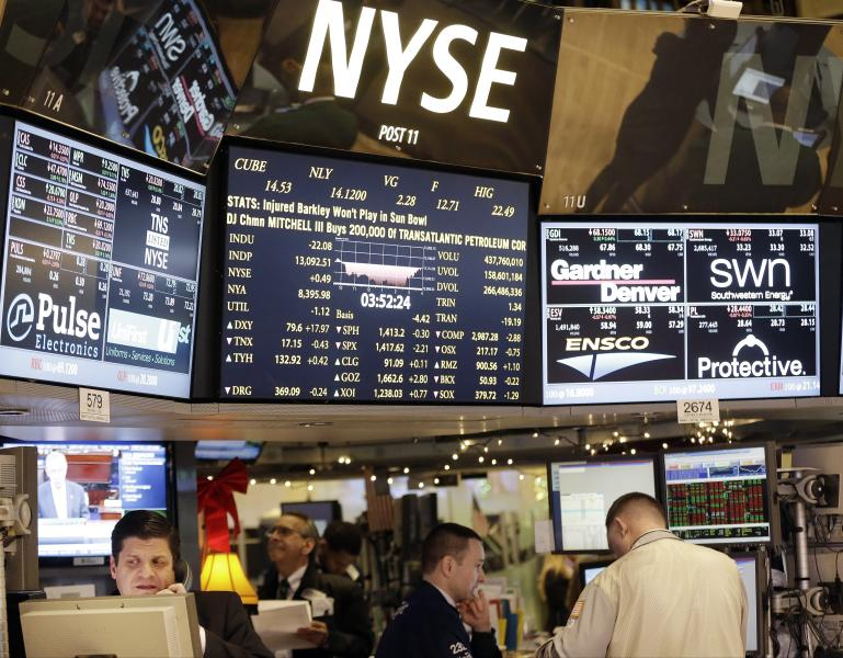 Floor traders work on the floor of the New York Stock Exchange Thursday, Dec. 27, 2012, in New York. Stocks are edging higher on Thursday as hopes dim that a budget deal will be reached before a deadline at the end of the year. (AP Photo/Frank Franklin II)