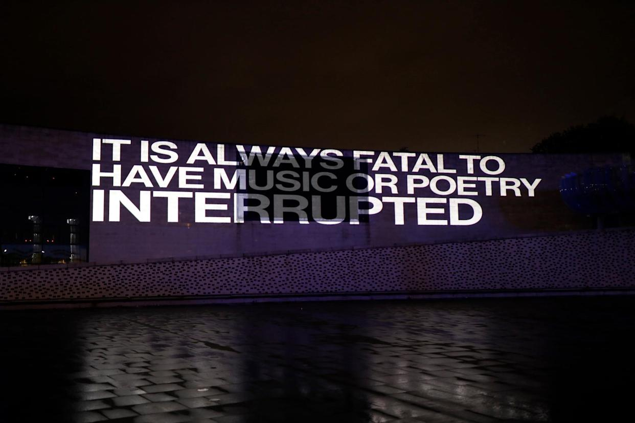 The project sees George Eliot's words projected onto landmarks (City of Culture/PA)