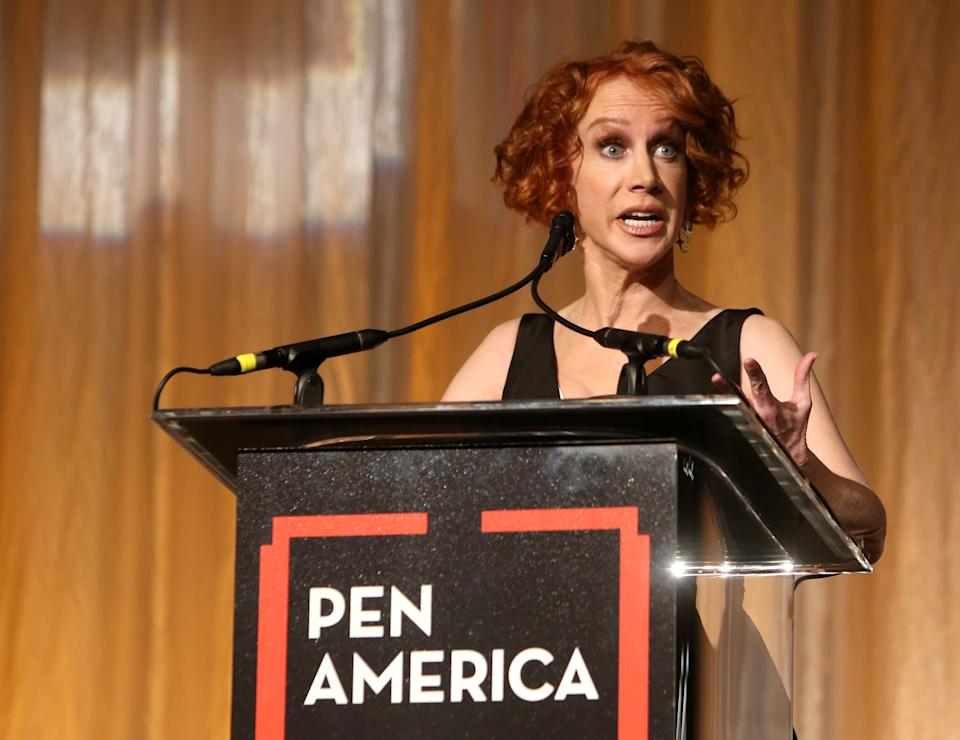 BEVERLY HILLS, CALIFORNIA - NOVEMBER 01: Kathy Griffin speaks onstage during the 29th Annual PEN America LitFestGala at Regent Beverly Wilshire Hotel on November 01, 2019 in Beverly Hills, California. (Photo by Randy Shropshire/Getty Images for PEN America)