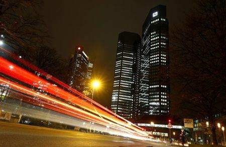The head quarters of Germany's largest business bank, Deutsche Bank, is photographed in Frankfurt