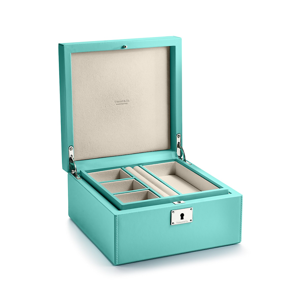 "<br><br><strong>Tiffany & Co.</strong> Small Leather Jewelry Box, $, available at <a href=""https://go.skimresources.com/?id=30283X879131&url=https%3A%2F%2Fwww.tiffany.com%2Faccessories%2Fdecor%2Fsmall-jewelry-box-67367456%2F"" rel=""nofollow noopener"" target=""_blank"" data-ylk=""slk:Tiffany & Co"" class=""link rapid-noclick-resp"">Tiffany & Co</a>"