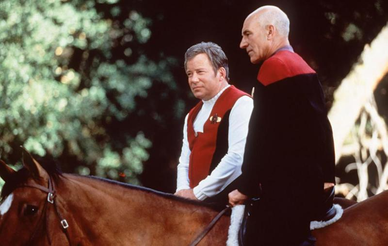 Horsing around? William Shatner and Patrick Stewart in Star Trek: Generations.